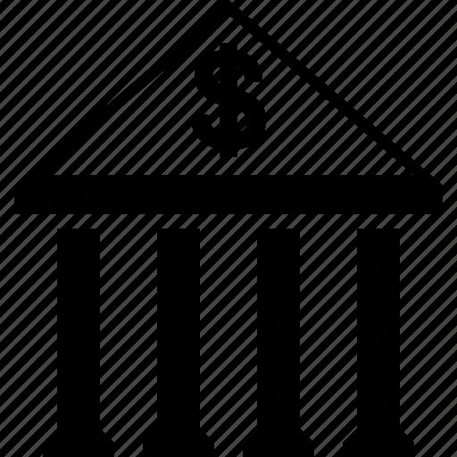 bank building, cash, dollar, finance, financial center, money, payment icon