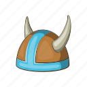 armor, cartoon, helmet, horned, medieval, viking, warrior icon
