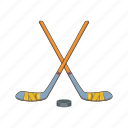 cartoon, hockey, illustration, puck, sport, stick, team icon