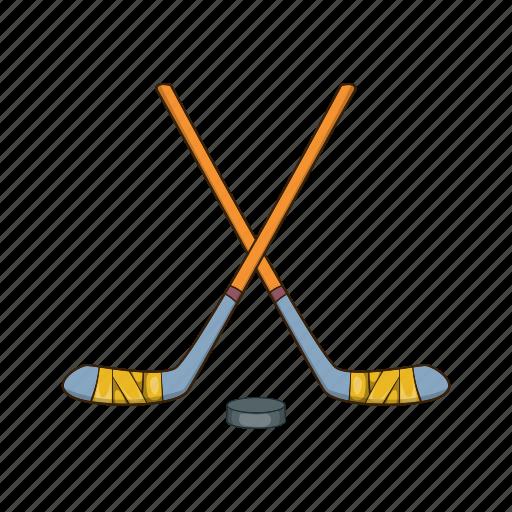 Cartoon, hockey, illustration, puck, sport, stick, team icon - Download on Iconfinder