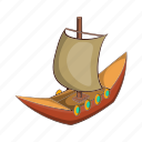 ancient, boat, cartoon, dragon, sail, ship, viking icon