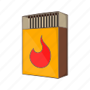 cartoon, fire, matchbox, matches, open, stack, wooden icon