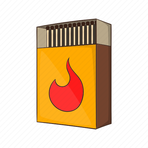 Cartoon, fire, matchbox, matches, open, stack, wooden icon - Download on Iconfinder