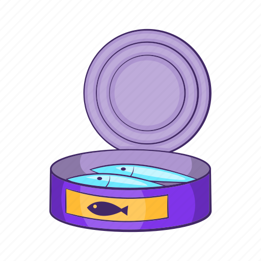 can, canned, cartoon, design, line, linear, sprats icon