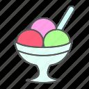 cream, dessert, sorbet, scoop, bowl, ice, sweet icon