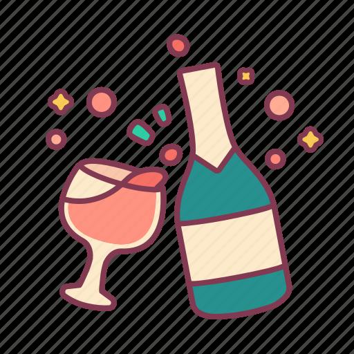 Bottle, celebrate, drink, fireworks, glasses, party, wine icon - Download on Iconfinder
