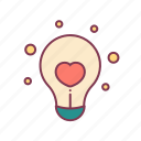 bulb, creative, heart, idea, light, love, valentine