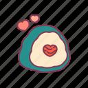 food, heart, love, onigiri, rice, seaweed, valentine icon