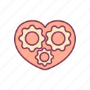 empathy, family, gear, love, machine, tools, valentine icon