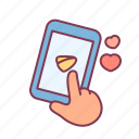 hand, heart, love, message, send, smartphone, valentine