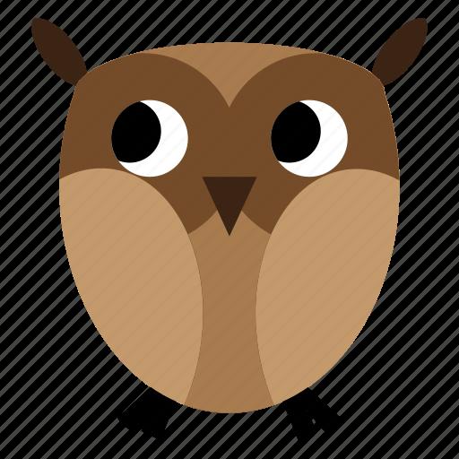 animal, brown, night, owl, sweet icon