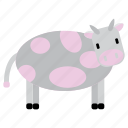 animal, bufallo, cow, grey, nice, pink, sweet icon