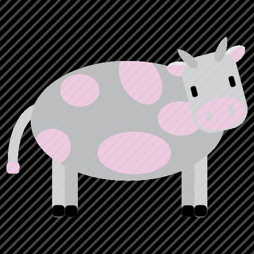 animal, bufallo, cow, grey, nice, pink, sweet icon