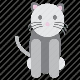 animal, cat, grey, nice, pet, pink, sweet icon