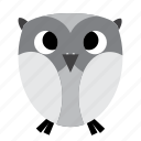 animal, bird, grey, night, owl, sweet icon