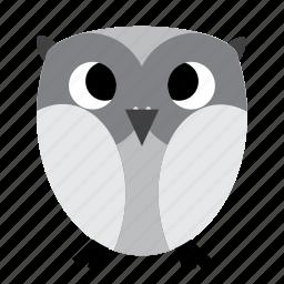 animal, bird, grey, night, owl, sweet icon