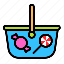 basket, candy, confectionery, lollipop, sweets, sweets basket icon