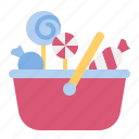 basket, candy, dessert, lollipop, sweets, sweets basket icon