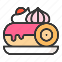 dessert, food, jam roll, sweet roll, sweets icon