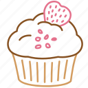 birthday, cake, cupcake, cupcake with strawberry, dessert, food, sweet icon