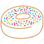 bakery, dessert, donut, donut with crumbs, fruit, sweet icon