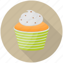 cream cake, cupcake, dessert, orange cream, orange cupcake icon