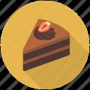 cake piece, cake slice, chocolate fudge, cream cake, dessert icon
