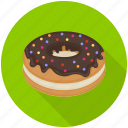 baked donut, bakery food, chocolate donut, donut, sweet food icon