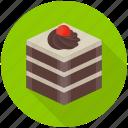 birthday cake, black forest cake, cake piece, cake slice, chocolate cake icon
