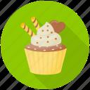 cake, cream cake, cupcake, dessert, praline cupcake