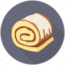 cake, cake roll, dessert, sponge roller, swiss roll icon