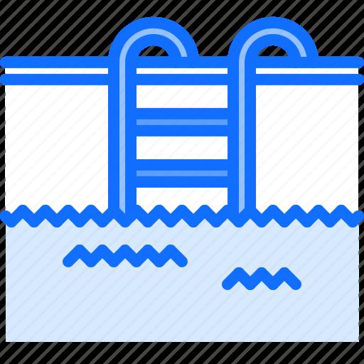 ladder, pool, swim, swimmer, swimming, water icon