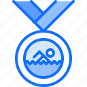 award, medal, swim, swimmer, swimming, water icon