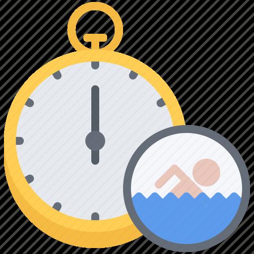 speed, stopwatch, swim, swimmer, swimming, water icon