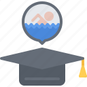 cap, graduate, swim, swimmer, swimming, training, water icon