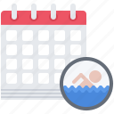 calendar, date, pool, swim, swimmer, swimming, water icon