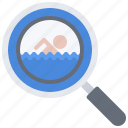 magnifier, pool, search, swim, swimmer, swimming, water icon