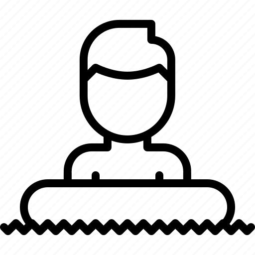 lifebuoy, man, rubber, swim, swimmer, swimming, water icon