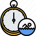 speed, stopwatch, swim, swimmer, swimming, water icon