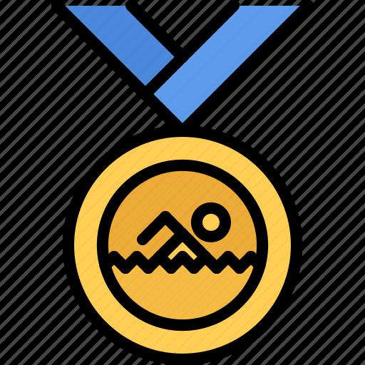 award, medal, swim, swimmer, swimming, water icon