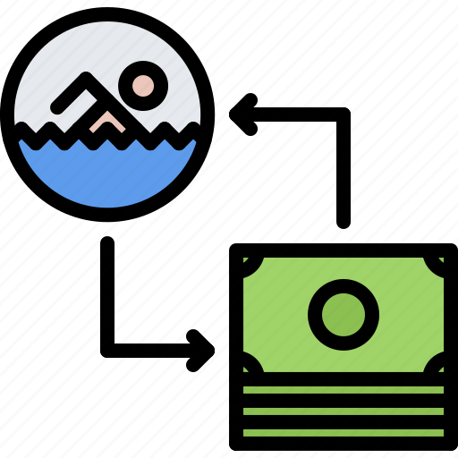exchange, money, purchase, swim, swimmer, swimming, water icon