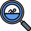 magnifier, pool, search, swim, swimmer, swimming, water