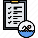 check, swim, swimmer, swimming, tablet, water, workout icon