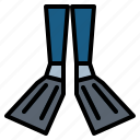dive, diving, fin, flippers icon