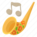 art, cartoon, instrument, music, saxophone, trumpet icon