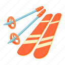 blizzard, boot, cartoon, cold, skier, skiing, stick icon