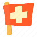 cartoon, flag, red, swiss, switzerland, switzerland flag, waving icon