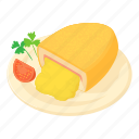 cartoon, cooked, dish, fillet, kiev cutlet, meal, roast icon