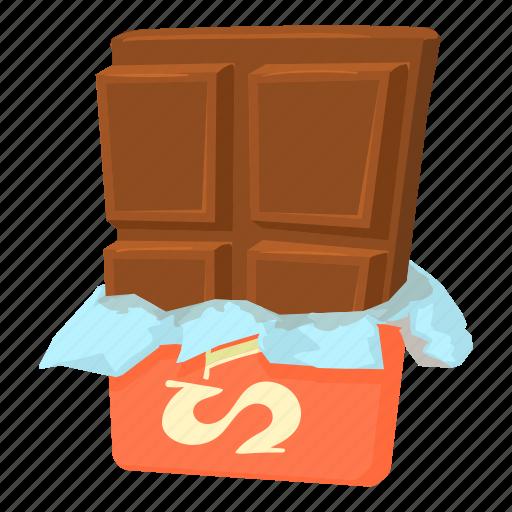 bite, cartoon, chocolate, dessert, foil, food, milk icon