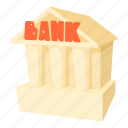 bank, building, business, cartoon, finance, money icon